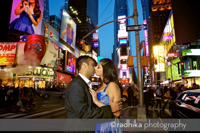 times square engagement portrait